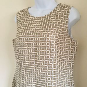 Brooks Brothers Dresses - Brooks Brothers Gold and Cream Patterned Dress